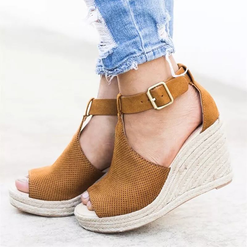 COSIDRAM Summer Women Sandals Wedge Peep Toe Shoes High Heels Beach Ladies Shoes Fashion Platform Rome Plus Size 42 43 SNE-095