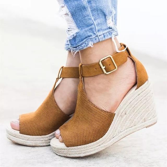 4af131cb84e1e1 COSIDRAM Summer Women Sandals Wedge Peep Toe Shoes High Heels Beach Ladies  Shoes Fashion Platform Rome