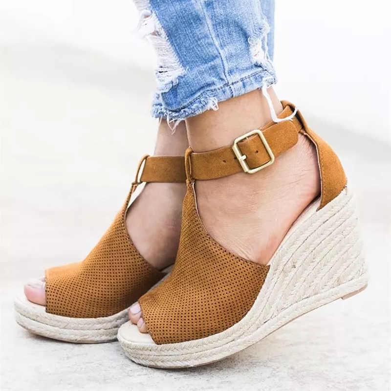 COSIDRAM été femmes sandales compensées Peep orteil chaussures talons hauts plage dames chaussures mode plate-forme Rome grande taille 42 43 SNE-095
