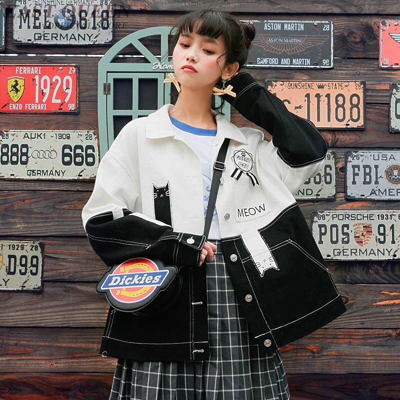 Femmes denim veste japonais harajuku kawaii style haut hip hop vêtements 2018 streetwear femme basique jean veste 2018 KK2064
