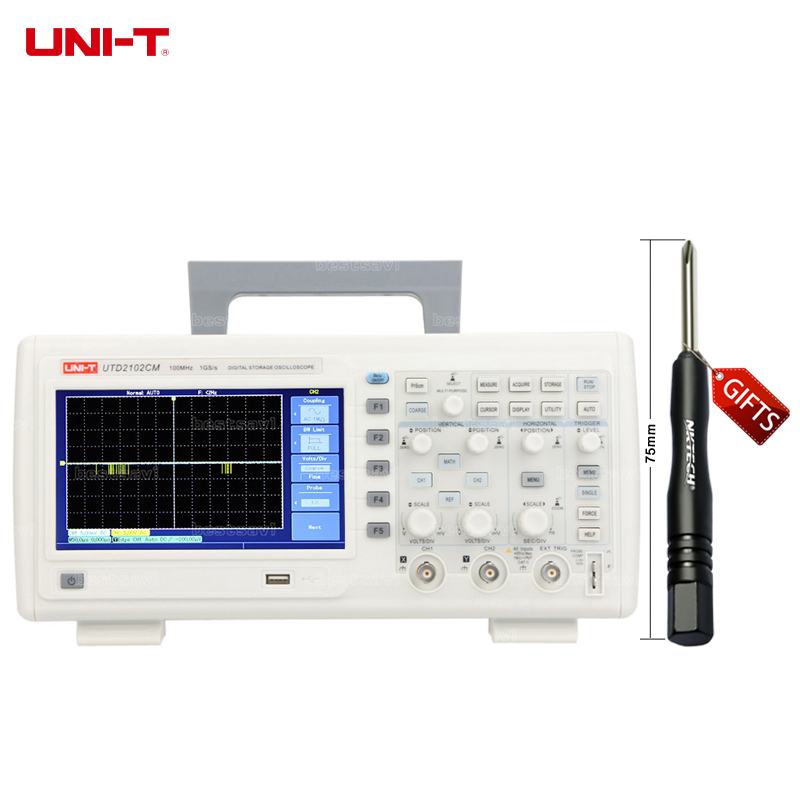 DHL UNI-T UTD2102CM 100MHZ 1GS/s Digital Storage Oscilloscopes DSO 7 TFT LCD Dual Channels Scopemeters w/16Mpts & USB high accuracy uni t utd2052cex utd2102cex digital storage oscilloscopes 2 channels 100 200mhz 1gs a scopemeter 7 inches lcd