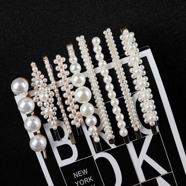 Nuevo estilo INS perla completa Clip para el cabello para mujeres elegante diseño coreano perla Metal pinzas para el cabello horquilla niñas estilo de pelo accesorios