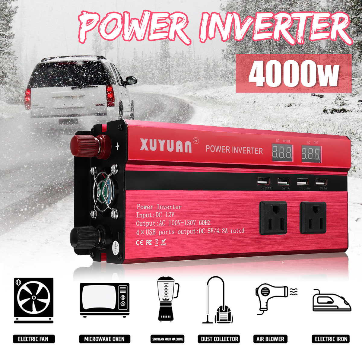 Inverter 12V 220V 4000W Peak Car Power Inverter Voltage Transformer Converter 12 220 Charger Solar Inversor 12V 220V LCD DisplayInverter 12V 220V 4000W Peak Car Power Inverter Voltage Transformer Converter 12 220 Charger Solar Inversor 12V 220V LCD Display