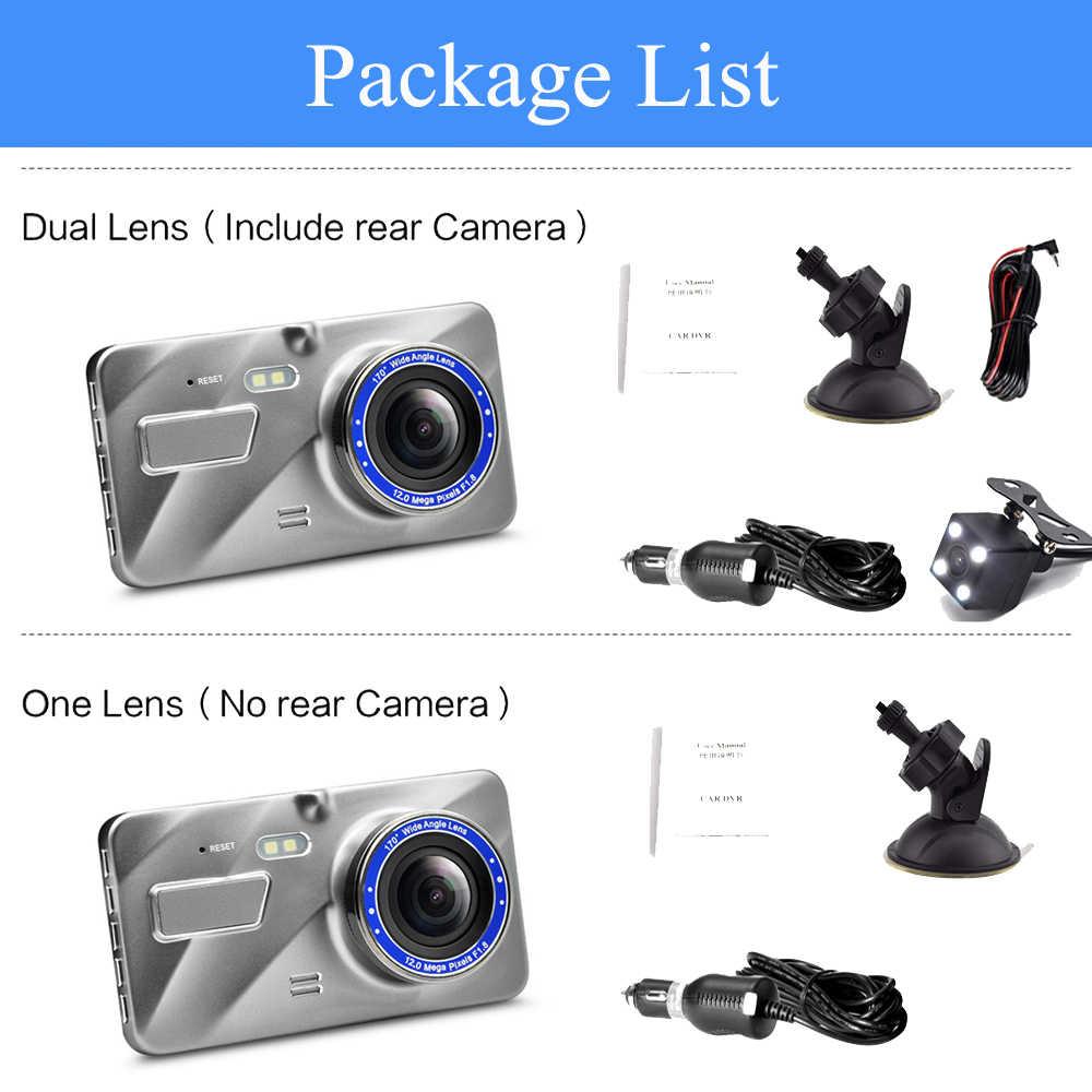 "Cámara ADDKEY Dash Cam doble lente coche DVR vehículo Full HD 1080P 4 ""IPS frontal + noche trasera grabadora de vídeo de visión G-sensor dash cam"