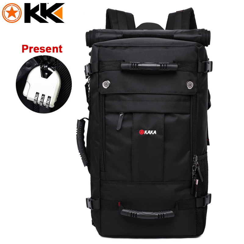 KAKA Black Men Backpack Travel Bag 40L Large Capacity Polyester Waterproof Backpacks Unisex High Quality Travelling