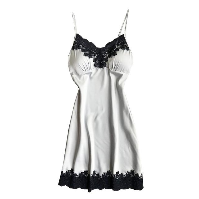 Satynowa bielizna nocna kobiet panie bielizna nocna koszula nocna seksowna bielizna z klatki piersiowej klocków 121