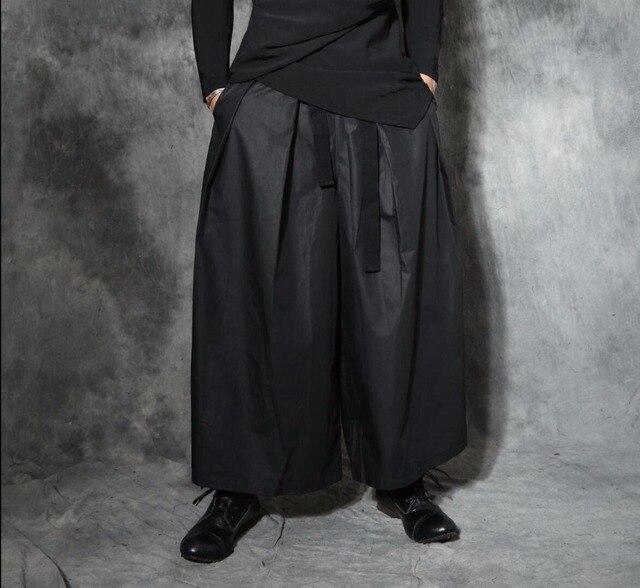 7238c2c56 S 5XL Nuevos hombres Punk harem flojo pantalones trompeta faldas estilista  pantalones casuales pantalones anchos de piernas pantalones Culottes trajes  ...