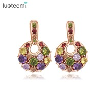 LUOTEEMI New Statement Round Stud Earrings Rose Gold Plated Filled Wedding Party Multi Color Zircon Brincos