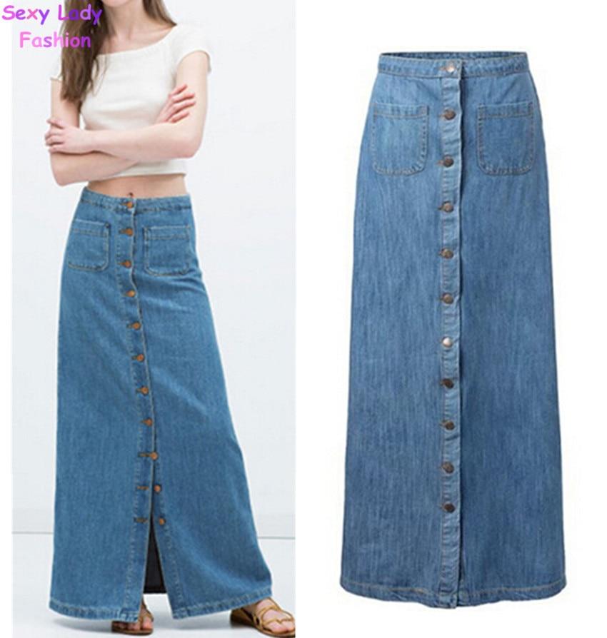 Popular Women's Long Denim Skirt-Buy Cheap Women's Long ...