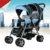 Moda gemelos cochecito de bebé plegable luz cochecito de bebé doble twins cesta puede sentarse puede mentir portátil EVA rueda sólida