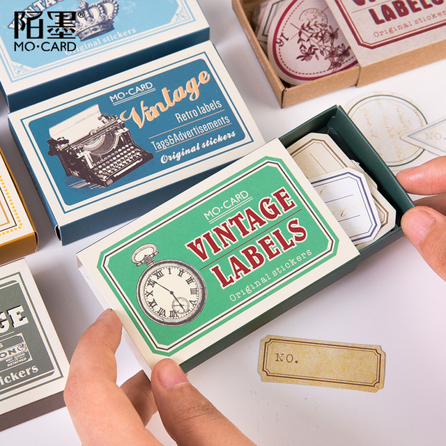 60pcs/box Vintage Plant Travel Matchbox Diary Stickers Retro Stamps Scrapbooking Korean Cute Bullet Journal Sticker Label 2