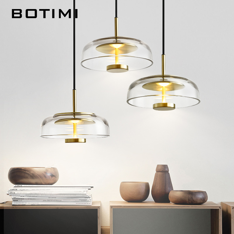 BOTIMI Noble LED Pendant Lights With Glass Lampshade For Dining Room Modern Pendant Lamp Restaurant Home Decor Lighting Fixture