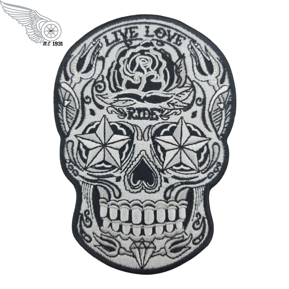 Embroidered Small Black White Sugar Skull Sew or Iron on Patch Biker Patch