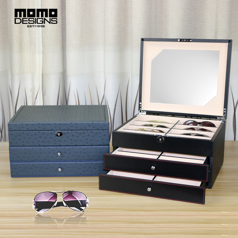 WOODEN Sunglasses storage box Leather packaging for 24 eye glasses display Jewelry showcase High end Carbon PU wrapped