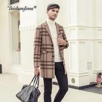 Baishanglinna Men Coats Wool Cashmere England Style Men Overcoat 2018 Winter Woolen Coats Mid Long Plaid Color Trench Coat 38320