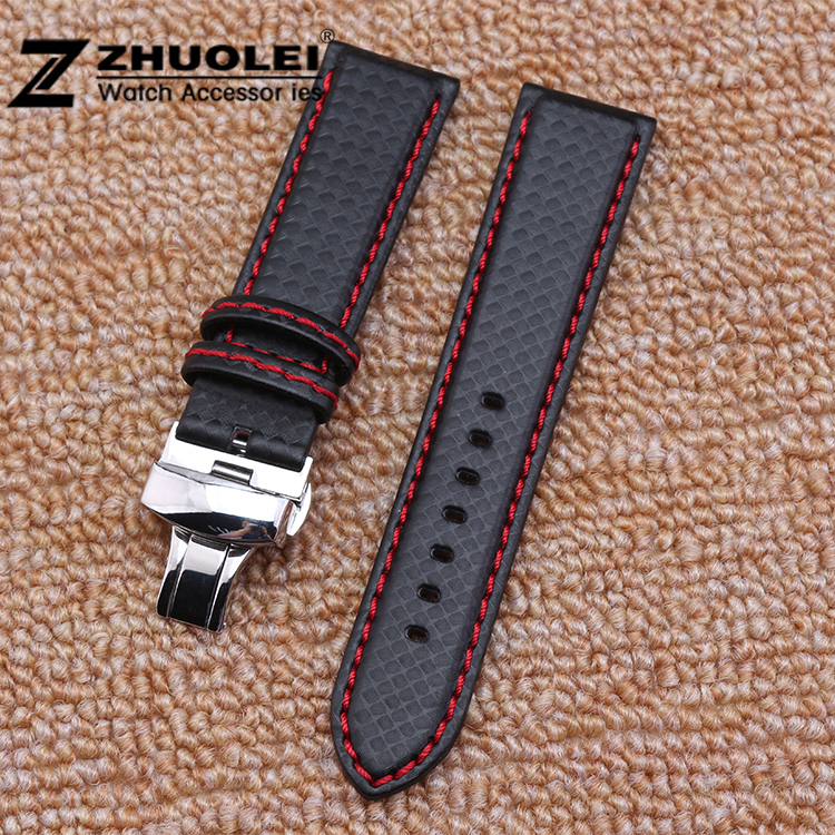 22mm Black Red Stitching Carbon Fiber Leather Watch Band strap sport цена