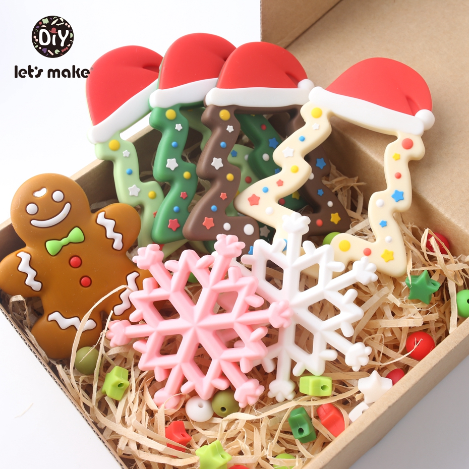Let's Make Silicone Teether Christmas Tree Gingerbread Man Nursing Accessories Snow Food Grade DIY Teething Necklace Teether