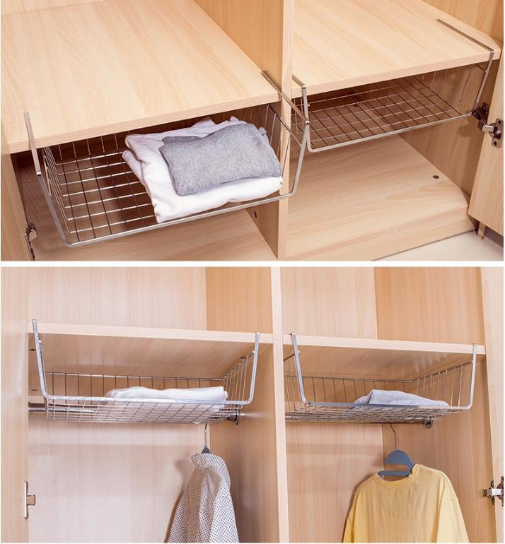 Home Storage Accessories Hanging Mug/clothes/ Towel Cabinet Shelf  Underslung For Clapboard Need Not Install Single Non Fold Rack