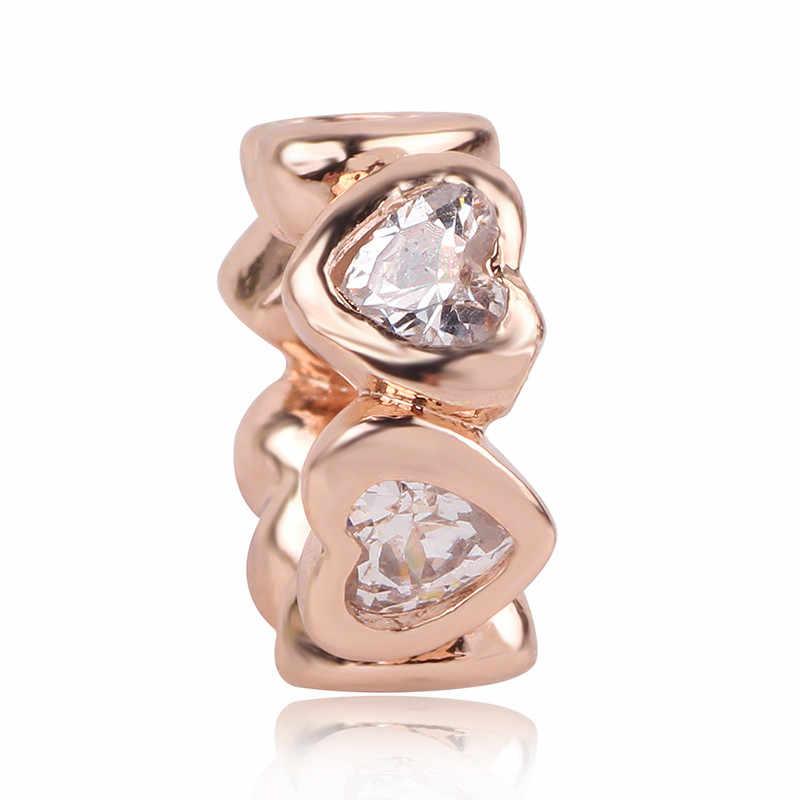 Fits pandora encantos prata 925 pulseira original para as mulheres mix novo 1pc prata 925 amor café espaçador clipe diy rosa ouro grânulo