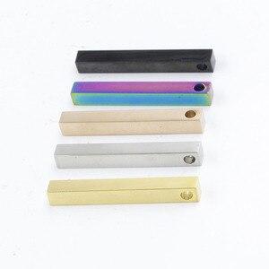 Image 2 - Fnixtar 20 sztuk/partia 5*40mm taśmy Charms ze stali nierdzewnej puste Bar Charms dla DIY Making naszyjnik bransoletka nazwa niestandardowa Logo biżuteria