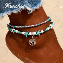 FAMSHIN Vintage Life Tree Anklets Byzylyk Për Gra Bend Pendent Multi Layer Beach Anklet DIY DIY Summer Charm Charm