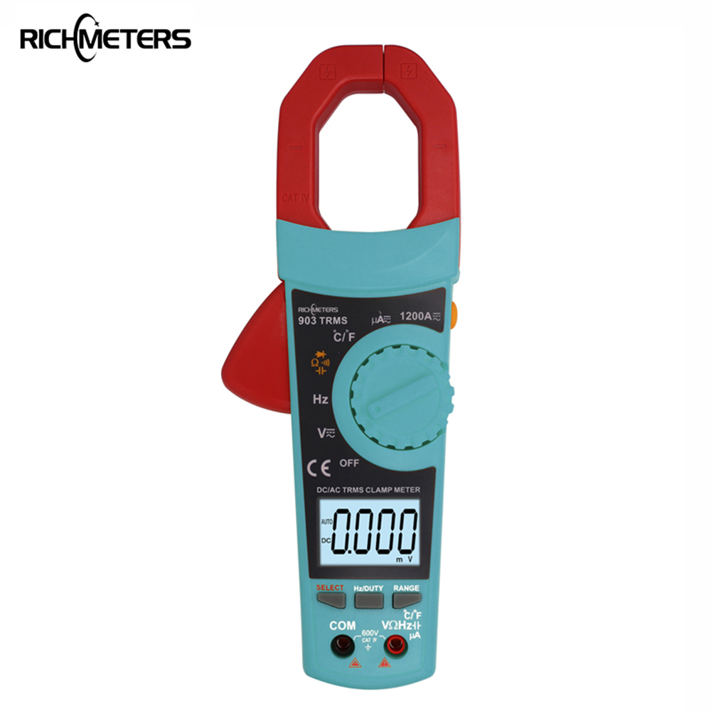 RICHMETERS RM903 Digital Current Clamp Meter Voltmeter Ammeter 1200A Multimeter Thermometer AC DC Voltage Temperature Measurment clip on ammeter digital clamp meter current voltage resistance test clamp meter