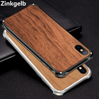 For iPhone XS Max Cover Case Luxury Slim Hard Metal Natural Wood Armor Protective Phone Case for iPhone X XR 7 8 Plus Back Cover