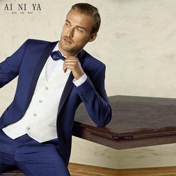(Jacket+Pant+Vest+Tie) Custom Made Blue men suit New Style Groomsmen Wedding Men Suits Prom  Fit Leisure Suits