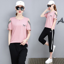 3XL Tracksuit Women Sports Suits 2019 Summer Casual Short Sleeve T Shirt +pants 2 piece Sets For Lady Clothing