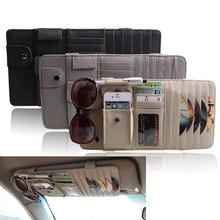 ymjywl Car Leather Multifunction CD Storage Box Sun Visor Case for DVD Glasses Folder Business Card Holder Bag