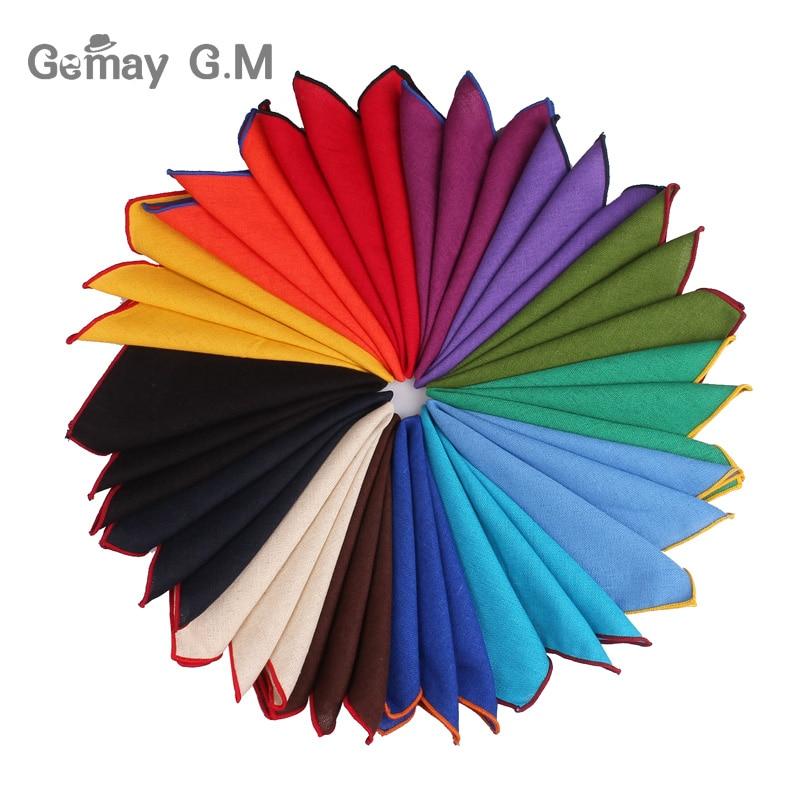 Fashion Solid Linen Pocket Square Suits Hanky Candy Color Handkerchiefs Casual Suit Square Handkerchief Towels For Party Scarves