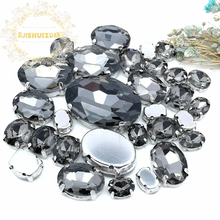 5 SIZES 30PCS Free shipping! Gray oval shape Glass Crystal sew on rhinestones with calw Diy wedding decoration