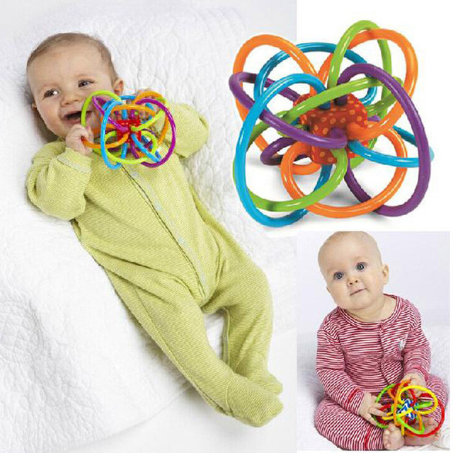 2017 New Baby Rattles Toys Develop Intelligence Baby Toys 0-12 months Bell Ball Baby Grasping Toy Plastic Hand Bell Rattle