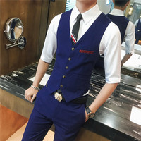 Men's Suit Vest Business Wedding Man Waistcoat Size S 3XL Suit Vest Men