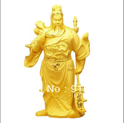 Flocking Alluvial Gold Plating Chinese Wealth God Guan Gong Yu Statue