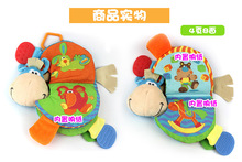Happy Monkey 22cm Baby Rattle Teether Stuffed Plush Doll Bibi Donkey Horse Car Bed hanging Toys Bell Ring Paper Infant Kids