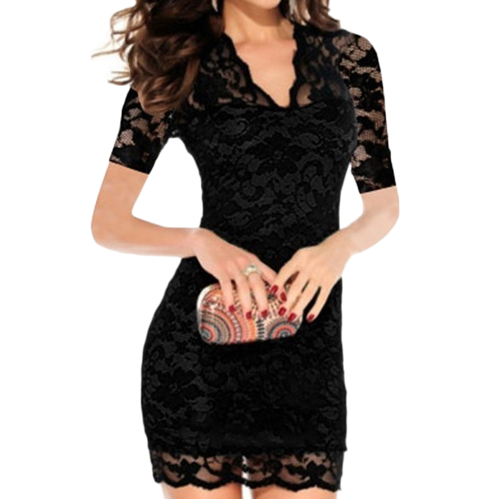 Summer Women Deep V-neck Sexy Lace Dress Office Lady Lace Slim Stretch Bodycon Dresses Crochet Elegant Strength Dress Vestidos