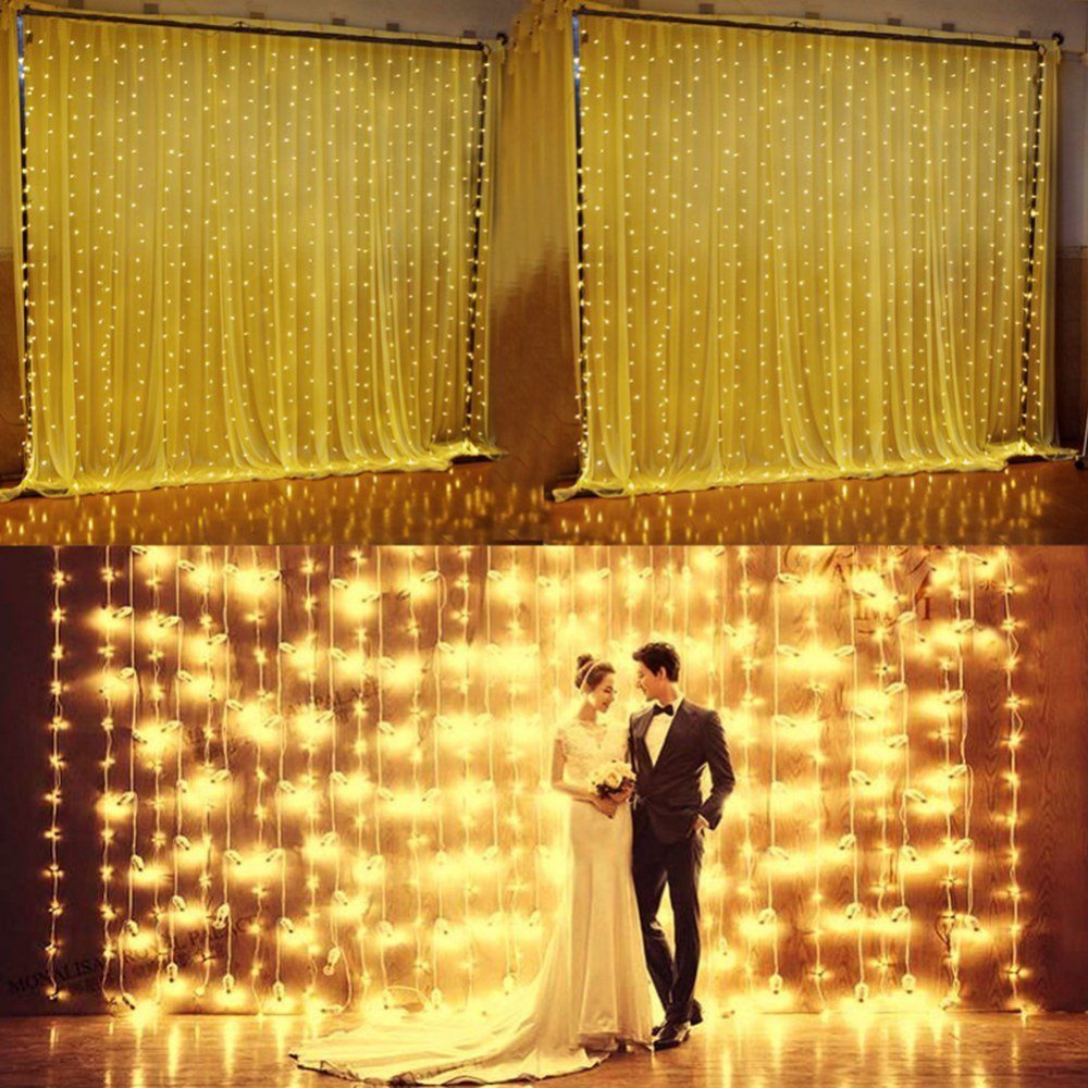 6 * 3m 600 bulbs LED Curtain Lights Christmas Garland Light String New Year Holiday Party Wedding Lights Decoration Gerlyanda multicolor led string strip christmas holiday wedding curtain lights 120 smd 12 glass balls 3m long 0 6 high decoration party