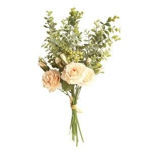 Image 3 - Kyunovia משי ורדים כלה זר מלאכותי פרח ורוד לבן כלה שושבינה זר חתונה יפה זר D110