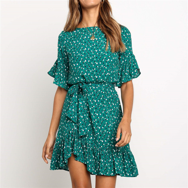 Chiffon Women Dresses 2019 Casual Short Sleeve Elegant Boho Print Beach Dress Sexy Ruffles A-Line Mini Party Dress Robe Femme