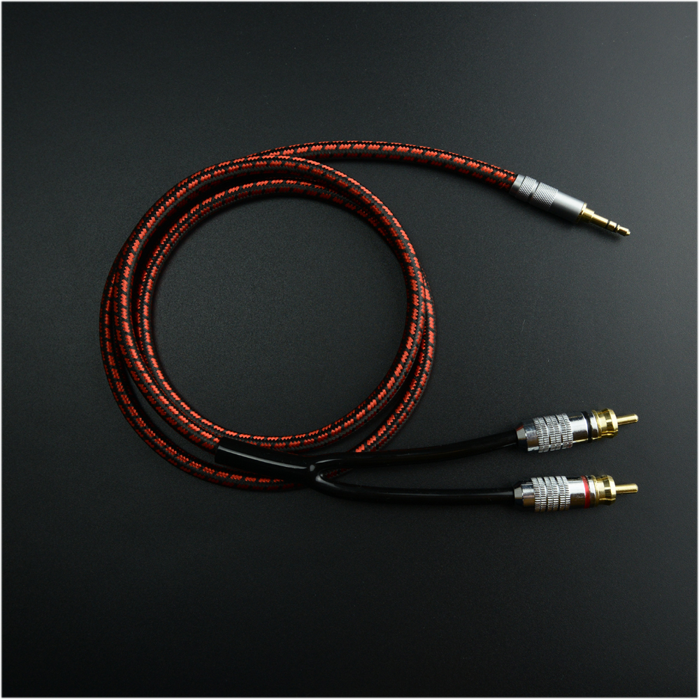 MonsterProlink Standard 100 Stereo 3.5mm to 2RCA Audio Cable Red for MP3 CD DVD TV Audiophile cable Free Shipping