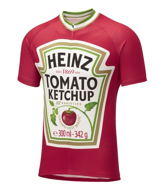 2016 men s cycling clothing red bike shirt heinz Tomato ketchup cycle  clothing jerseys cool bicycle shirt unique ride wear e214d9e0d
