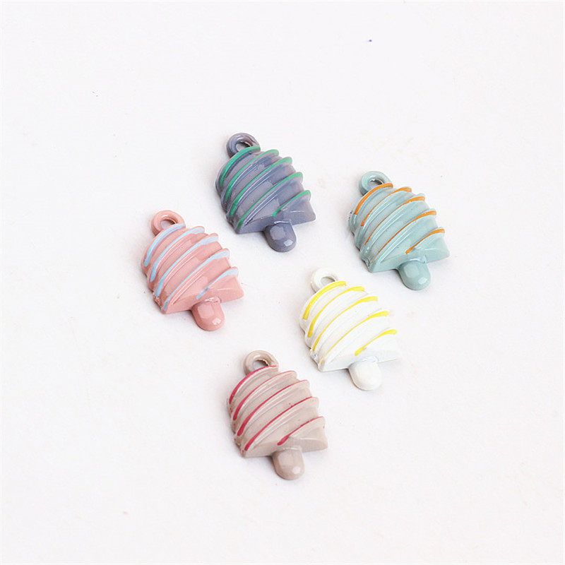 Wholesale 100PCs 11*18MM Flatback Enamel Alloy Pendant Charms Cute Ice Cream Shape Kawaii Oil Drop Bracelet Necklace Charm Craft