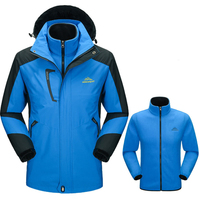 Men Winter Thick Softshell Warm Outdoor Sports Jacket Waterproof Breathable Inside Fleece Coats For Skiing Hiking Camping