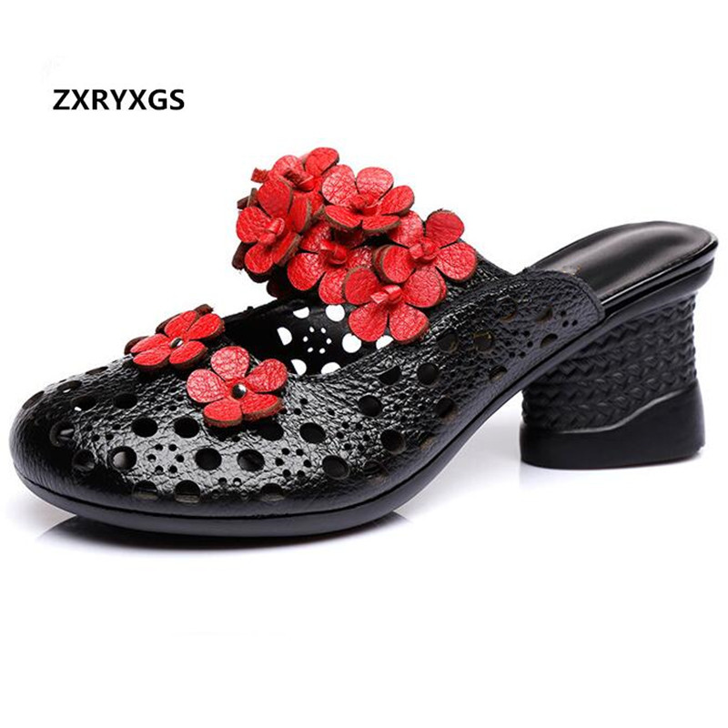 2019 New Summer Women Sandals Retro Flower Hollow Cowhide Leather Slippers Sandals Thick with Holes Shoes