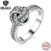 VOROCO Autumn Collection 925 Sterling Silver SARKLING LOVE KNOT Weave Finger Ring For Women Engagement Fashion