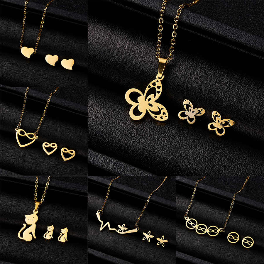Rinhoo Fashion Jewelry Set Arrivals Love Heart Animal Stainless Steel Necklace Earrings Set Women Lover's Engagement Jewelry