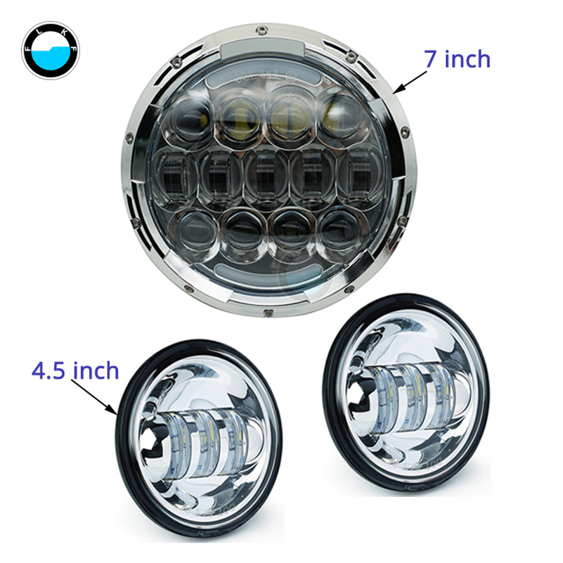 Motorcycle headlight suit 7 Inch 105w Harley Daymaker LED Headlight with 4.5inch Fog Lights for Harley Davidson Motorcycle. 7 motorcycle daymaker rgb led headlight