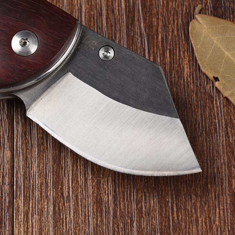 Image 5 - Real Outdoor Small Pocket Knife D2 Steel Mini Folding Knives Red Wood Handle EDC Survival rescue tools sharp mes free shipping-in Knives from Tools