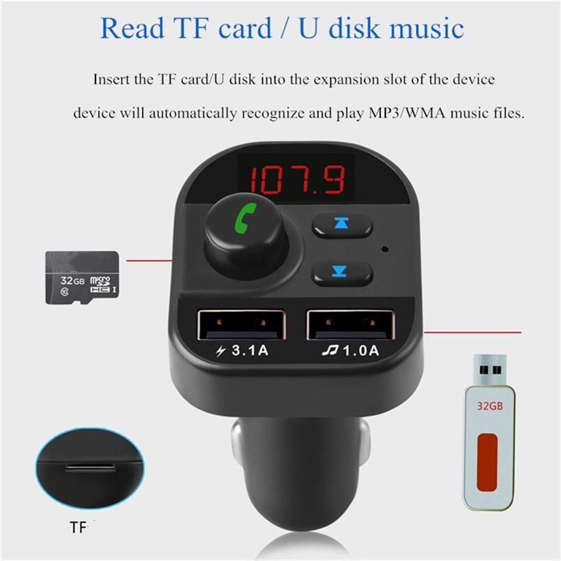 V5.0 Bluetooth Car FM Transmitter Wireless Radio Adapter USB Charger Car Mp3 Player Digital Tube Display Screen 40AP906